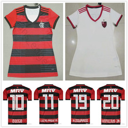 Women Flamengo RJ Soccer Jerseys 9 GUERRERO 10 DIEGO VINICIUS JR RIBEIRO  MANCUELLO 18 19 Flemish Woman Ladies Girls Home Football Shirt flamengo  soccer on ... e7aac446b