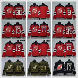 Men 9 Taylor Hall 13 Nico Hischier 30 Martin Brodeur 35 Cory Schneider USA  FLAG Red 2018 AD Blank New Jersey Devils Hockey Jerseys Cheap be2902a85