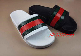 Wholesale Best Summer Sandals - 2018 NEW Europe Brand Fashion mensstriped designer sandals causal Non-slip summer huaraches slippers flip flops slipper BEST QUALITY