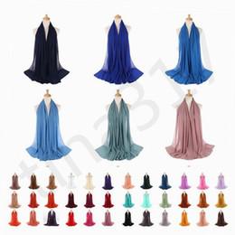 bufanda de perlas musulmanes Rebajas Monocromo Nation Pearl Chiffon Bubble Towel Scarf Venta caliente de alta calidad Muslim Woman Scarf Shawl T7C069