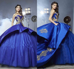 Wholesale Girls Peplum Dresses - 2018 Royal Blue Quinceanera Dresses With Gold Embroidery Peplum Ball Gown Masquerade Sweety 16 Girls Prom Dress