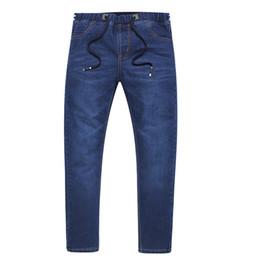 Wholesale Jeans For Large Men - Men's Slim Large Size S-6XL 7XL 2018 Spring Blue Stretch Straight Jeans Fashion Casual Denim Pants Long Trousers For 130KG Wear