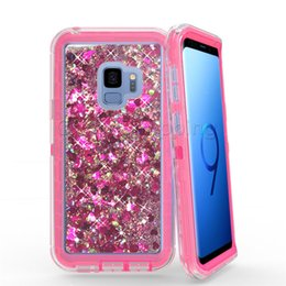 Wholesale Red Defender - 3 in 1 Bling Glitter Liquid Quicksand Case Fashion Crystal Robot Defender Cases Cover For iPhone X 8 7 6S Plus Samsung Note 8 S8 S9 Plus