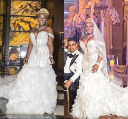 wedding dresses covering shoulders Coupons - Dubai Arabic Luxury Crystals Beaded Mermaid Wedding Dresses Off Shoulders Deep V Neck Long Chapel Train Ruffle Skirts Wedding Bridal Gowns