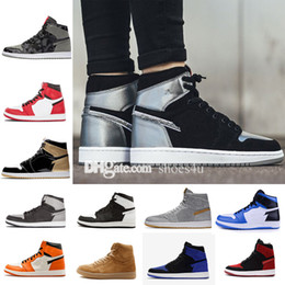 Wholesale Metallic Mesh Top - classic 1 high top UNC Metallic Red basketball shoes sneakers GS bred banned Top 3 royal black reverse shattered backboard Black Toe Chicago