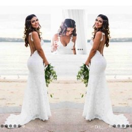Wholesale Sexy Trumpet - Sexy Beach Country Style Lace Mermaid Wedding Dresses Boho Backless Deep V Neck Backless Wedding Dress Cheap Bridal Gowns Simple Wear