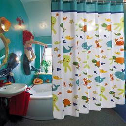 2019 douches usagées Enfant bande dessinée poisson tortue pieuvre imperméable polyester rideau de douche salle de bains utiliser rideau de douche cortinas de bano douches usagées pas cher