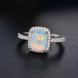 Wholesale Plastic Plates For Weddings Wholesale - Engagement Rings Wedding Rings for Women Multicolor Opal Ring Big Fashion Jewelry 2018 New Hot Sale