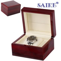 red wooden boxes Promo Codes - High Light Single Wooden Watch Box Red Luxury Watch Display Box Jewelry Gift Storage For Single Can Customize LOGO