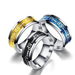 Wholesale Yellow Gold Heart Rings - MGFam (187R) 316L Titanium Steel Rings Fashion Jewelry Love Oil Drip Black Yellow Gold Blue No Change Color 6 7 8 9 10 11 12 13