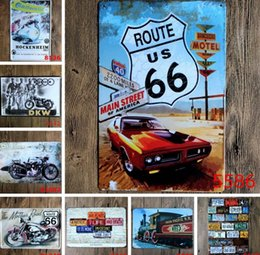 Wholesale vintage tin motorcycle - New Route US 66 Automobile Motorcycle Chic Home Bar Vintage Metal Signs Home Decor Vintage Tin Signs Decorative Plates Painting