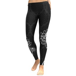 c0b28b71dd9 Sexy Women Slim Legging Floral Print Casual Workout Fitness Legging Skinny  Pencil Sporting Pants Trousers Black Push Up Leggings