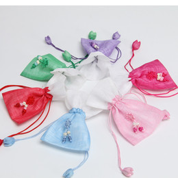 Wholesale rustic jewelry - Rustic Small Flower Drawstring Favor Bags Cloth Jewelry Storage Wedding Gift Bags Pouch Gauze Candy Bags ZA6468