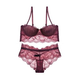 Wholesale French Red Dressing - luxury French lace push up women sexy underwear sets young girls bride dress bra set transparent panties lingerie sets 4 colors