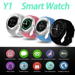 2019 función de reloj inteligente Y1 y1 Smart Watch Soporte tarjeta SIM TF que llama la alarma SNS función reloj smartwatch apple teléfonos android reloj con Anti-pérdida de encontrar con la caja al por menor rebajas función de reloj inteligente