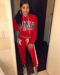 Wholesale Browning Sweat Pants - Pink Letter Print 2018 Woman Tracksuit 2 Piece Set Full Sleeve Sweatshirt Top Hoodies And Long Pants Casaul Female Sweat Suit Women Clothes