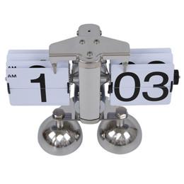 Wholesale auto flip clock - Retro Modern Alarm Scale Digital Auto Flip Dual Stand Desk Table Balance Clock Flip Clock