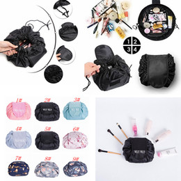 Wholesale Cosmetic Makeup Large Bag - 9 Colors Vely Vely Cosmetic Bag Drawstring Large Capacity Portable Magic Travel Pouch Cosmetic Makeup Storage Bags FFA090 30pcs
