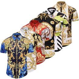 La última carta de impresión de Medusa 3D patchwork camisas de los hombres diseño de moda de marca de lujo de los hombres de manga corta camisas casuales tamaño asiático 2XL desde fabricantes