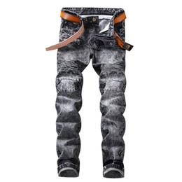 Pantalones vaqueros falsos online-Nueva Llegada Agujeros Jeans Hombres Ripped Fake Zipper Denim Skinny Pantalones Estilo Europeo Nostalgia Jeans Alta Calidad Hip Hop