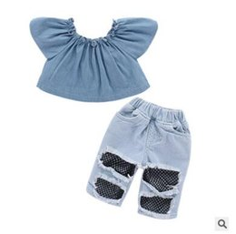 4083f328d9b1c Baby Girls Clothes Outfits Set 2018 Summer Baby Girls Off Shoulder Tops  Denim Pants Hole Jeans Outfit Patchwork Set Fashion Cute Clothes baby top  jeans ...