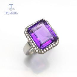anel de esmeralda africano Desconto TBJ, Simples e elegante esmeralda corte africano ametista grande gemstone pingente de anel para as mulheres em 925 prata esterlina com caixa de presente