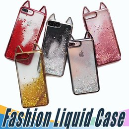 Wholesale Iphone Cute - Fashion Glitter Liquid Case Cute Quicksand Robot Shockproof Cases Cover For iPhone X 8 8plus 7 6S Plus