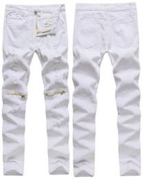 Mens jeans cerniere ginocchia online-Nuovi jeans strappati bianchi da uomo in cotone elasticizzato skinny skinny afflosciabile zip cargo sopra i pantaloni in denim maschile hip-hop al ginocchio