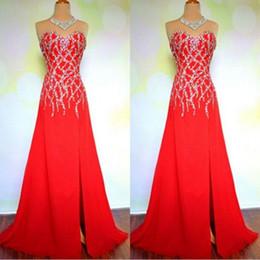 966f5d754 2019 vestidos de noche largos hechos a medida cariño sin mangas Cuentas  brillantes lentejuelas adorno vestidos de fiesta de graduación rojos con  tren de ...