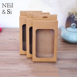 Wholesale Wholesale Bakery Boxes Free Shipping - Hook Kraft Paper Box Wedding Gift Candy Bakery Biscuit Package Phone case Pack Hang Boxes Free Shipping