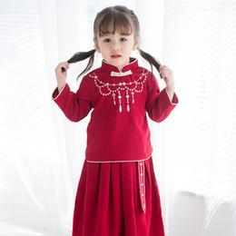 2019 roupas de bebê chinês Estilo chinês Do Bebê Meninas Roupas Define Retro Estudantes Outfits Chinês Ano Novo Ternos Trajes Do Bebê Meninas Cheongsam Doce + Saia Plissada 2 Pcs roupas de bebê chinês barato