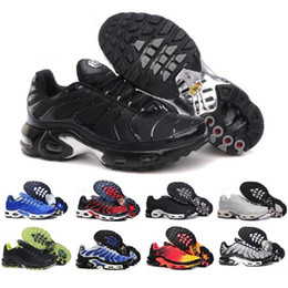 Wholesale Mens Discounted Tennis Sneakers - Discount Newest Brand Sports Running Shoes New Air Cushion TN For Men Black White Red Mens Runner Sneakers Man Trainers Tennis Shoes