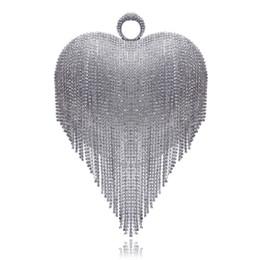 Porte-monnaie en Ligne-Coeur Conception Gland Strass Femmes Embrayages Cristal Doigt Chaîne Épaule Chaîne Sacs À Main Pour La Fête De Mariage De Mariée Bourse