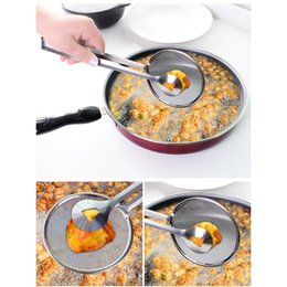 Wholesale Wholesale Frying Oil - 2018 New Multi-functional Filter Spoon With Clip Stainless Steel Colander Food Kitchen Oil-Frying BBQ Filter Kitchen Tongs