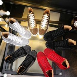 2017 erkek kadın taklidi yüksek top ayakkabı ünlü tasarımcı marka kırmızı alt Sneakers mens loubbis ayakkabı ile kutu ve ... nereden