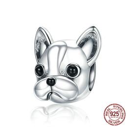 bracciali bulldog Sconti 925 Sterling Silver Partners fedeli BULLDOG francese smalto Doggy Animal Big Hole Beads per le donne Bracciali Charm Creazione di gioielli per cani
