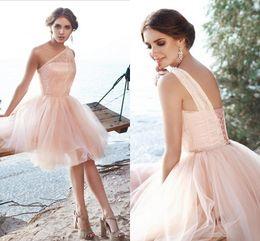 Wholesale cheap purple corset mini dresses - Sweet Pink One Shoulder Short Bridesmaid Dresses Beaded Tulle Lace Corset Puffy Beach Bridesmaid Dresses Cheap Party Dresses