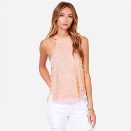 f0b0b2f42ba New Fashion Casual Sexy Women Blouses Summer Sleeveless Lace Loose Tops  Shirt Back Hollow Blouse female blusas
