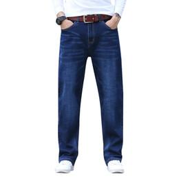 Caviglia elastica jeans online-Mens Plus Size 30-44 Big Dark Blue Relax Elastico in vita Jeans alla caviglia Uomo grande e alto Jeans stretch casual LOOSE FIT JEAN
