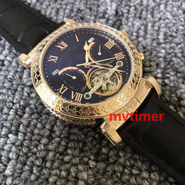Wholesale Mechanical Face - Brand Luxury Women's Fashion Leather Mens Quartz Moon Phases Tourbillon Aaa Designer Watches Men Double-faced Wristwatch Automatic Watch