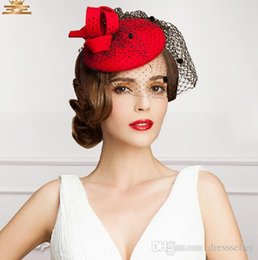 Wholesale Red Veil Fascinator - Beautiful Flower Bridal Hats Red Color Party Cocktail Women Fascinator Party Wedding Net Veil Bridal LovelyEoupean Style,Kentucky Derby Hats