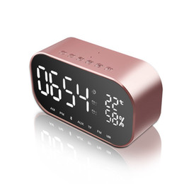 Wholesale Player Alarm - Portable Bluetooth Speaker Support Temperature LCD Display FM Radio Alarm Clock Wireless Stereo Subwoofer Music Player