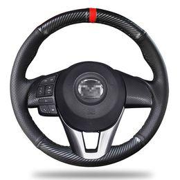 2019 mazda volantes Para Mazda CX-4 2016-7 / Atenza cobertura de volante fibra de carbono couro preto mazda volantes barato