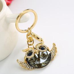 Wholesale bird keychains - Lucky Creative Owl Crystal Keychain Gold Metal Bird Keyring for Girl Birthday Present Charm Key Chain Holder D564Q