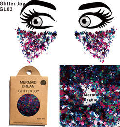 2019 ein augen make-up GL03 eine Packung Mermaid Dream Chunky Eye Glitter Gesicht Körper Pailletten Dekorationen Festival Body Dance Makeup Art günstig ein augen make-up