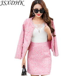 Шерстяная смесь карандашная юбка онлайн-Autumn Winter Women 2 Piece Set 2018  Pink Beading Pearl Tweed Wool Blends Tassel Jacket Coat + Bodycon Pencil Skirt Suits
