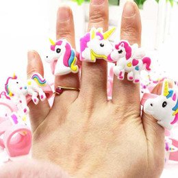 Wholesale tibet horse - Cute Fairytale PVC Unicorn ring Multi-style Horse Finger rings silicone Children's Cartoon Ring Party Gifts Girls Boys 080313