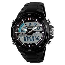 Аналоговые часы с несколькими тревогами онлайн-Top  Fashion Analog-Digital Watch Waterproof Multi Function LED Sports Watch Digital Alarm Time Zone