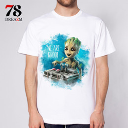 Wholesale Mens Galaxy T Shirt - Wholesale-Guardians of the Galaxy 2 movie Anime baby groot new fashion 2017 mens t shirt T-shirt male top funny Tshirt white tops tees