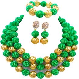 2019 cuentas de la boda de nigeria verde Collar de traje verde Pendientes Nigerian Beads Conjunto de joyería africana Sistemas de la joyería nupcial de la boda 3ZZJS06 cuentas de la boda de nigeria verde baratos